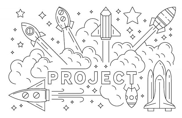 ロケットとプロジェクトの図。スタートアップビジネスラインアートデザインを立ち上げる