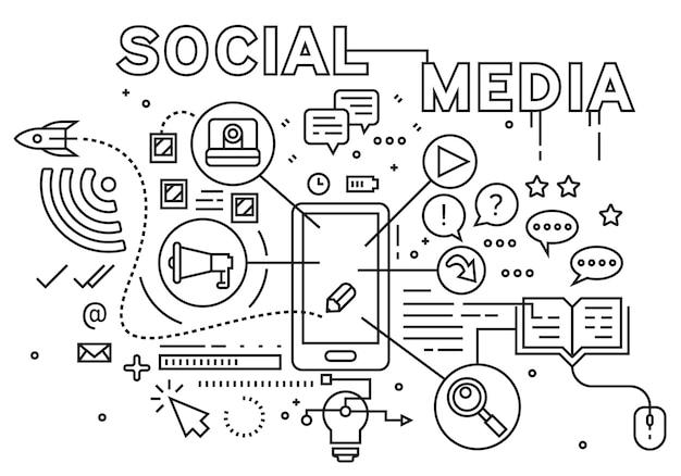 ソーシャルメディアの図。ラインアートデザインコンセプト。フラット落書きスタイル。幾何学的な線