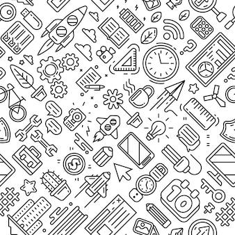 ユース、モダン、そしてビジネスパターンのテーマ。ラインアートデザイン落書きスタイル