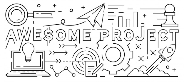 素晴らしいプロジェクトラインアートデザイン