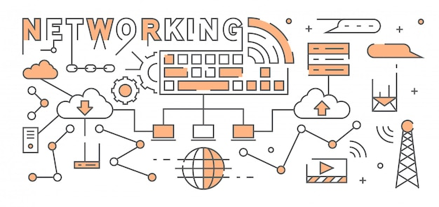 Интернет и сеть плоский дизайн