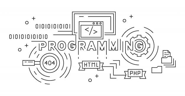 プログラミングモノラインデザインコンセプト