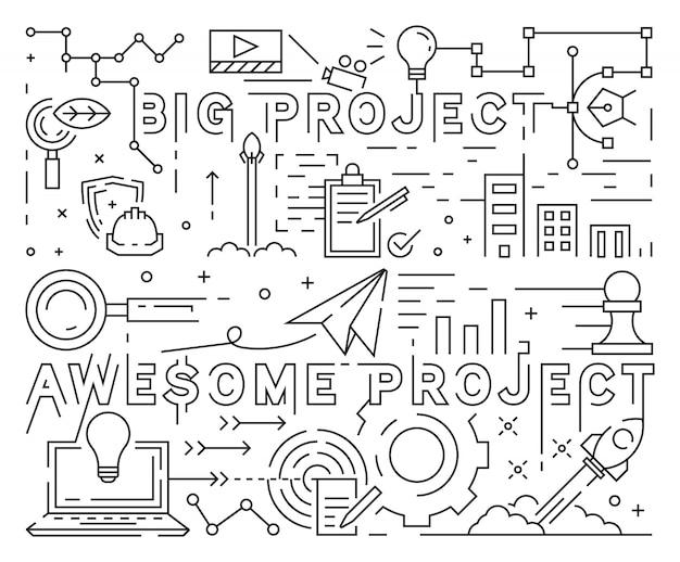 大きくて素晴らしいプロジェクトラインアートデザイン