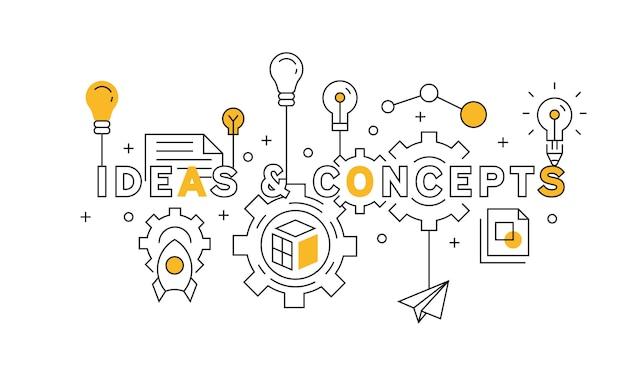 アイデアとコンセプトオレンジのフラットラインデザイン