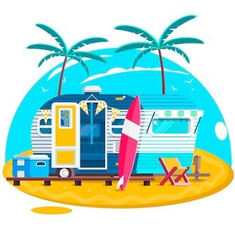 Тропический закат. туристические прицепы караваны. серфинг-трейлер с досками для серфинга на пляже. векторные иллюстрации