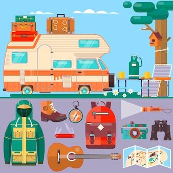Путешествия, туристический баннер. летние каникулы, отпуск. путешествовать по миру.