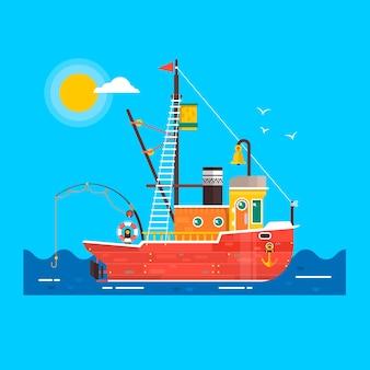Прохладный плоский морской рыбацкий корабль.