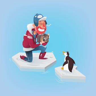ペンギンの写真を撮る写真家。ベクトル図