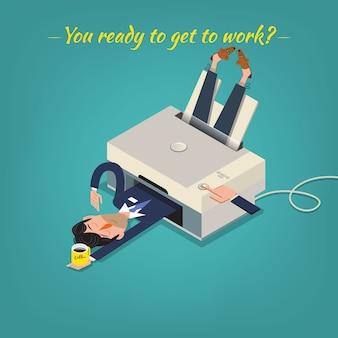Утренняя иллюстрация бизнесмена. концепция мотивации в понедельник.