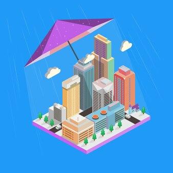 Векторные иконки. небоскребы и здания
