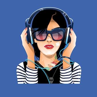 Леди в очках с наушниками слушает музыку