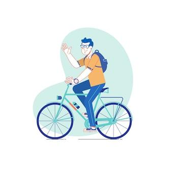 自転車に乗って市のスタイルの男。ベクトル線描画のイラスト