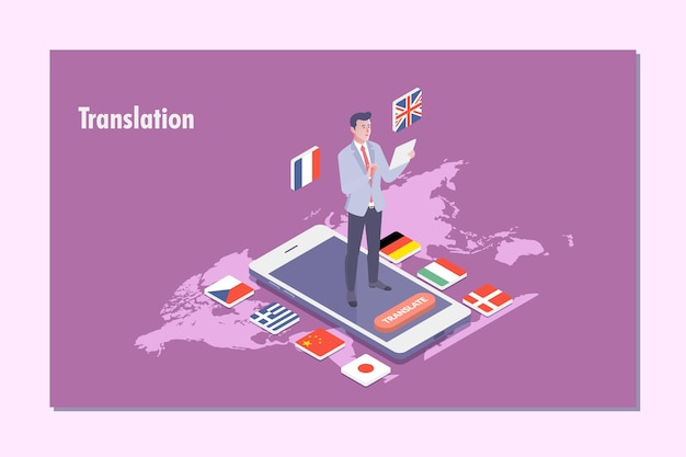 Иллюстрация трансляции переводчика с несколькими языками