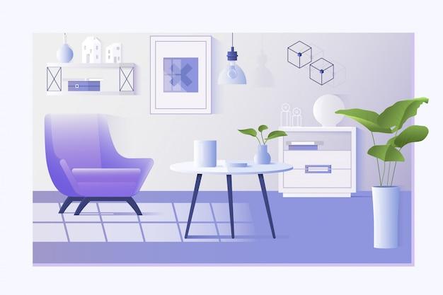リビングルームのインテリア。ホームモダンアパートメント