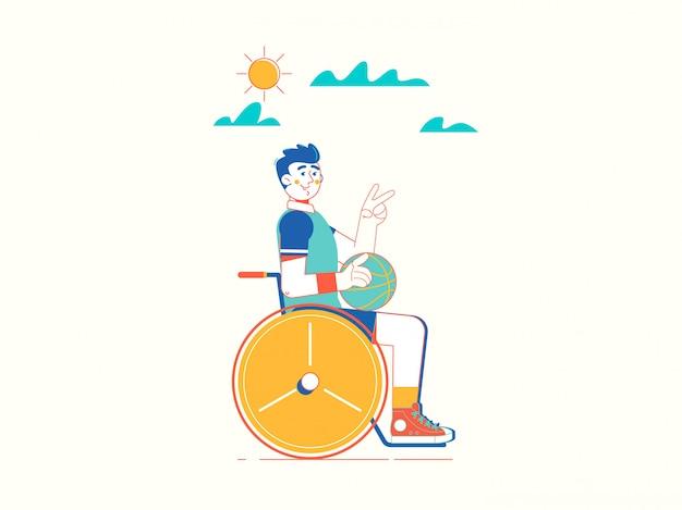 車椅子で無効になっている若いスポーツマン