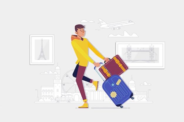スーツケースを持って旅行者男が空港に行きます
