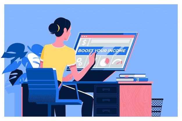ラップトップを使用して女性とあなたの収入のテキストを後押し