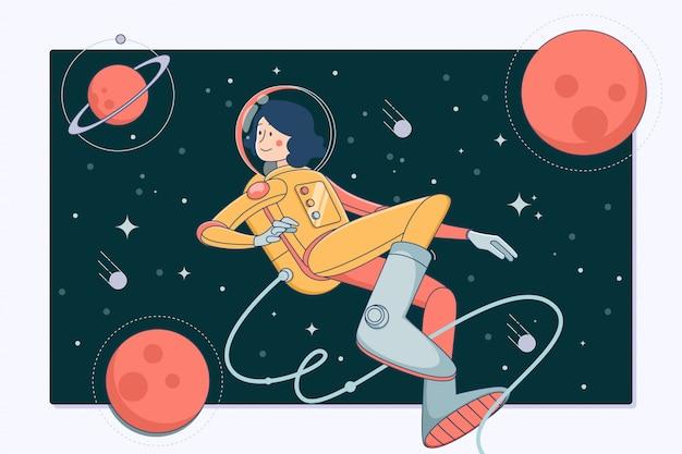 宇宙空間で宇宙飛行士