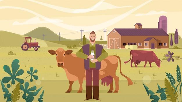 農業産業、農業、人々および畜産