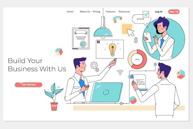 ビジネスチームとパートナーが一緒に作業するランディングページ