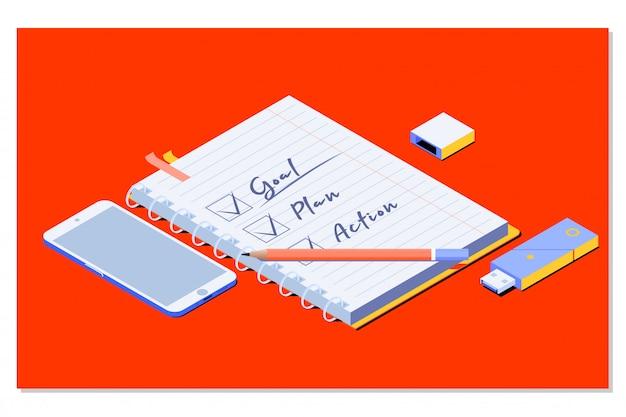 Цель, план, действие текст в блокноте с офисными принадлежностями