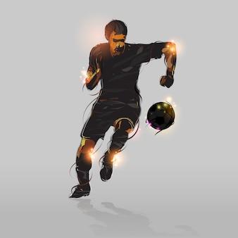 抽象的なサッカーのストライカー