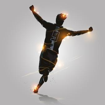サッカーは走るのを祝う