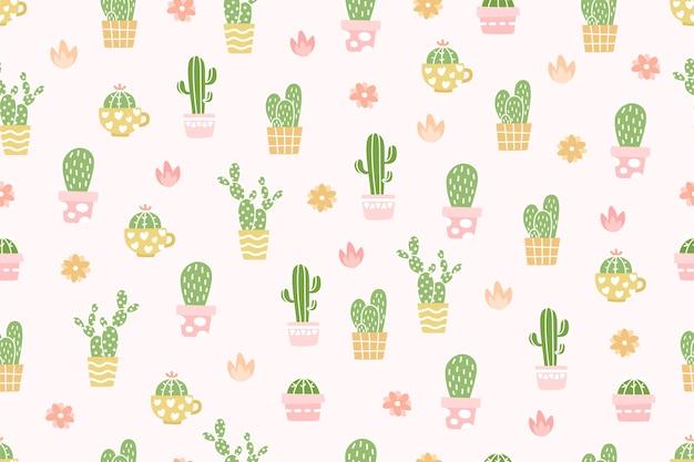 かわいいサボテンのパターンの背景。