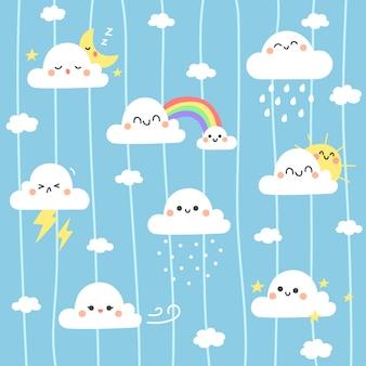 かわいい雲のイラストの背景。