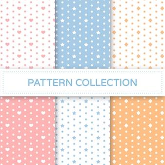 パステルカラーのシームレスパターンコレクション。