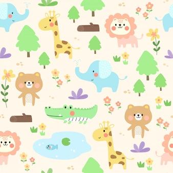 かわいい動物柄の背景。