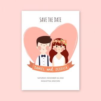 かわいいカップルのキャラクターと日付カードのデザインを保存します。