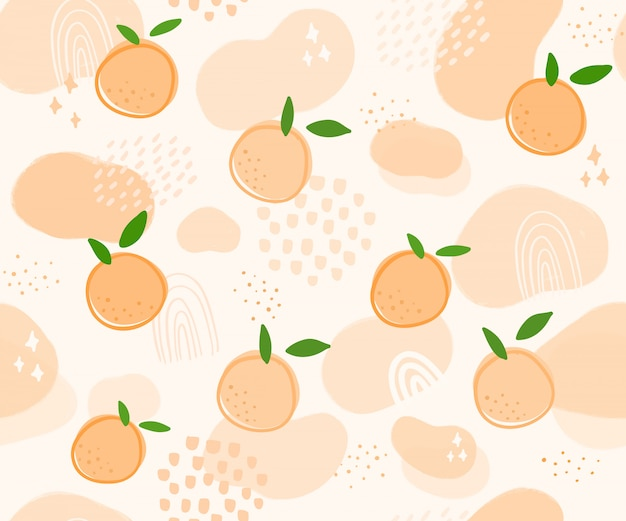 Ручной обращается шаблон оранжевые фрукты
