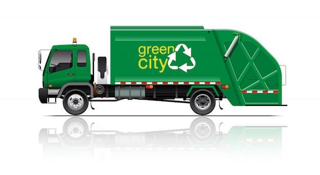 Зеленый мусоровоз