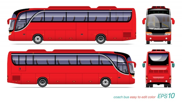 赤い観光バスの図