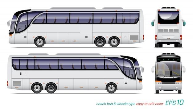 Белый туристический автобус.