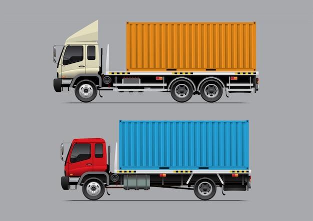 コンテナー付フラットベッドトラック