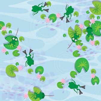 カエルベクトルシームレスパターン