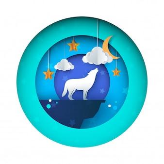 オオカミの月への狼狽 - ペーパーイラスト。星、雲、空。