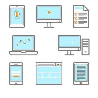 Значок цифрового гаджета смартфон, монитор, пк, браузер, планшет, книгоиздатель, значок электронной книги.
