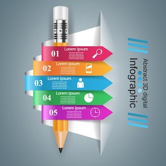 Деловая инфографика. иконка карандаша.