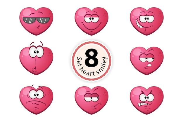 Сердце смайлик удовлетворение, уверенность в себе, сюрприз, усмешка, о, подозрение, очки, гнев.