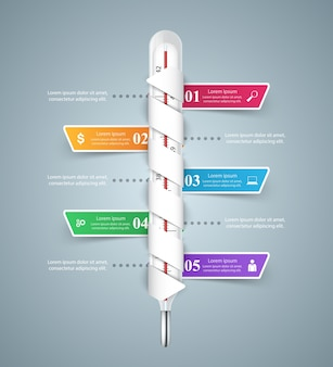温度計ビジネスインフォグラフィックス。健康アイコン。