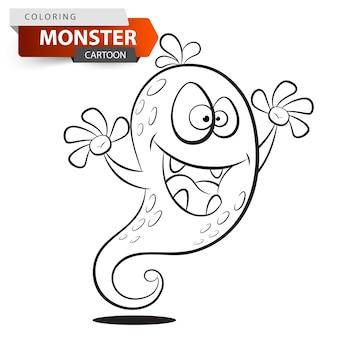 面白いかわいい狂った漫画の怪物のキャラクター。