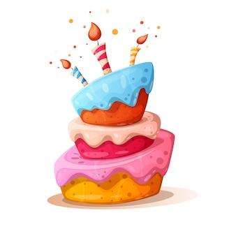 Иллюстрация мультяшный торт со свечой