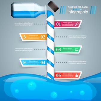 ビジネスインフォグラフィックス。ボトル、水、飲み物のアイコン。