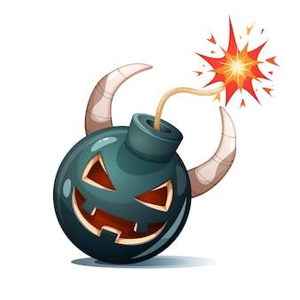 Мультяшная бомба, тыквенные персонажи. хэллоуин иллюстрации