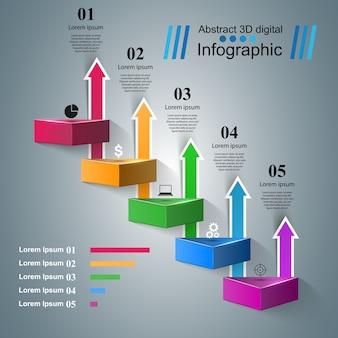 インフォグラフィックデザインテンプレートとマーケティングアイコン。