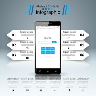 デジタルガジェットアイコン、スマートフォンインフォグラフィック。