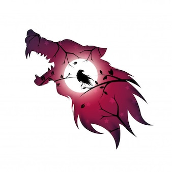 Оборотень, волк, собака, ворон ворона - бумага иллюстрации